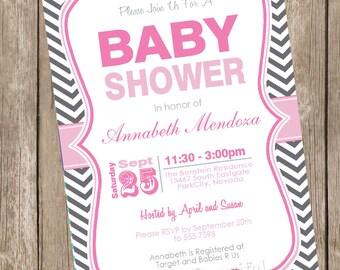 Girl Baby Shower Invitation Pink and Grey Chevron printable invitation 121202-K1-1D