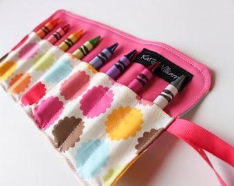 Flower Dot Crayon Holder-Girl Crayon Roll-Girl Easter Basket Gift-Girl Party Favor-Girl Birthday Gift-Travel Art Accessory-Girl