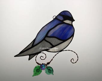 Tree Swallow Stained Glass Suncatcher