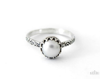 Sterling silver Pearl ring, pearl silver ring, statement pearl silver ring
