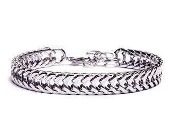 Silver bracelet for men - Men's Jewelry - Thick silver adjustable geometric bracelet - Gifts for him - Layering Bracelet - Stacking bracelet