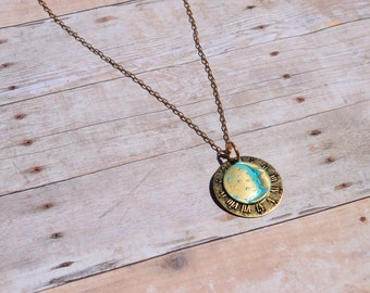 """Solid Brass Clock & Moon Necklace Pendant Hand Finished Patina - Solid Brass 18"""" Chain - Made in the USA!"""