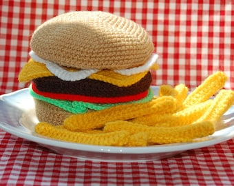 Knitting & Crochet Pattern for Cheeseburger and Chips / Fries - Toy Food, Knitted Food