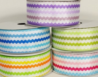 "1 1/2"" Wired Colorful Ric Rac Print Ribbon - 10 Yards"