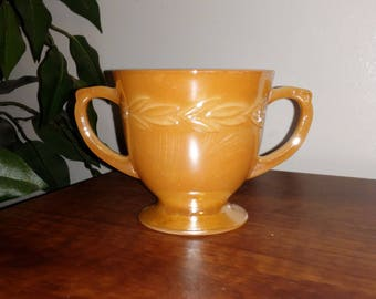Vintage Anchor Hocking Fire King Peach Lustre Laurel Sugar Bowl