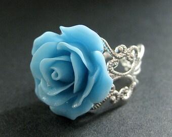 Baby Blue Rose Ring. Sky Blue Flower Ring. Filigree Adjustable Ring. Flower Jewelry. Handmade Jewelry.