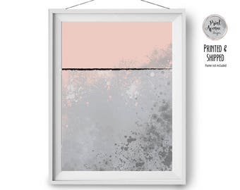 Abstract Art, Blush and Grey Print, Digital Painting, Brush Strokes Art, Minimal Print, Contemporary Art, Scandinavian Decor, Print Avenue