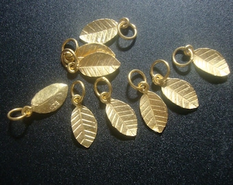 4 pcs, 24K Gold on 925 Sterling Silver Tiny Leaf Pendant Charm with Bail, Handmade Findings,PC-0185R