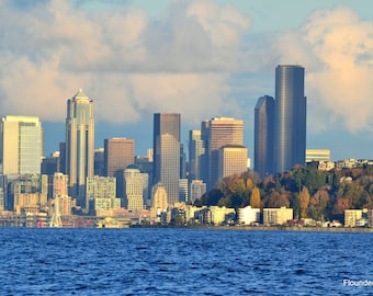 Alki Beach Seattle Skyline from Puget Sound, scenic city/sea picture, wall art, nautical image