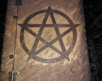 Wooden Book holding approx 150 sheets of paper. Pagan, Wiccan, B.O.S, Book of Shadows, spells, journal, Book of Mirrors - FREE UK SHIPPING!