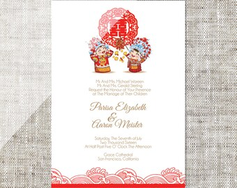 DIY Printable / Editable Chinese Wedding Invitation Card Template Instant Download_Traditional China Bride & Groom 婚禮喜帖 喜喜Double Happiness