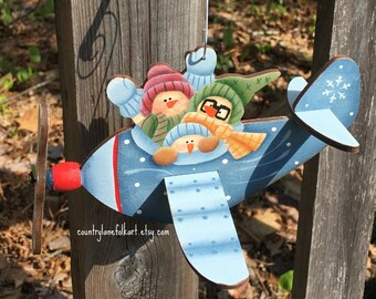 snowman christmas ornament, pilot gift,  gift for pilots, airplane christmas ornament, gift for grandson, hand painted wood ornament,