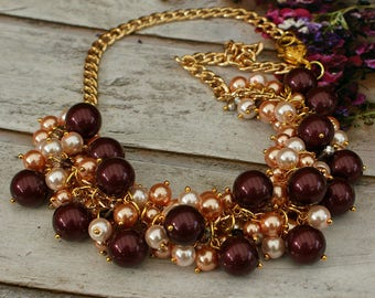 "Pearl necklace ""Berry Dream"", statement necklace, cluster necklace"