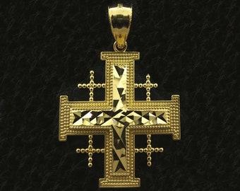 10k Yellow Gold Jerusalem Crusaders Cross Pendant, 5 Greek Crosses Medieval Religious Pendant, Crusaders Cross Pendant, Gold Jerusalem Cross