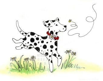 SALE! Daisy Dalmation Playful Children's Illustration print