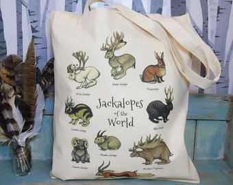 Jackalopes of the World Illustration Eco Tote Bag ~ 100% Cotton Long Handles