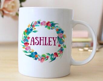 Floral Watercolor Personalized Mug - Personalized Coffee Mug - Floral Coffee Mug
