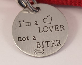 """1.25 inch """"I'm a LOVER, not a BITER"""" Personalized Pet ID tag (Pet's name & your phone on back)"""