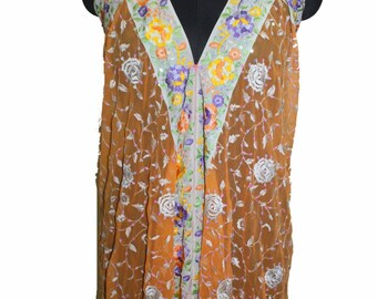 Vintage Boho Embellished Scarf Maxi Dress, Bohemian Kaftan Maxi Dress Beaded Antique Handmad Embroidered Evening Gown Sexy Back Less Dress