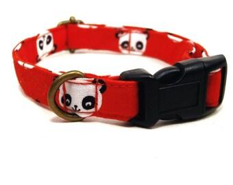 Pandamonium - Red Black White Panda Bear Kawaii Asian Japanese China Organic Cotton CAT Collar - All Antique Metal Hardware