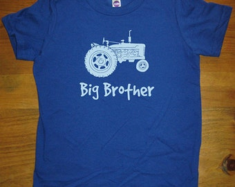 Big Brother Shirt - 5 Colors Available - Kids Big Brother Tractor T shirt Sizes 2T, 4T, 6, 8, 10, 12 - Gift Friendly