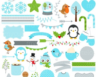 Winter Wonderland Clipart Set - digital elements - frames, borders, Winter, robin - personal use, small commercial use, instant download