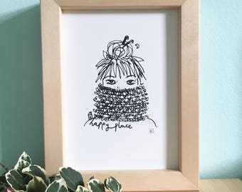 Crochet scaft girl screen print, happy place, A5 line drawing, handprinted art, knitting print, cozy print, hygge art, monochrome
