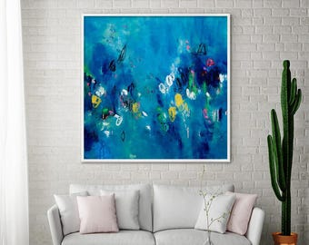 Giclee print, Abstract seascape large Art print, dark blue yellow, canvas art, large abstract art by AF Duealberi