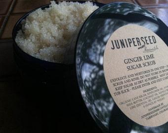 Ginger-Lime -  Ecofriendly Organic Sugar Scrub - eco-friendly post consumer resin jar