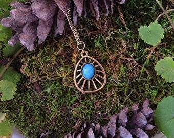 Delicate Necklace - Bronze Necklace - Bohemian Necklace - Turquoise Necklace