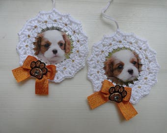 Set of two crochet Puppy Dog Ornaments / Gift Tags / Embellishments