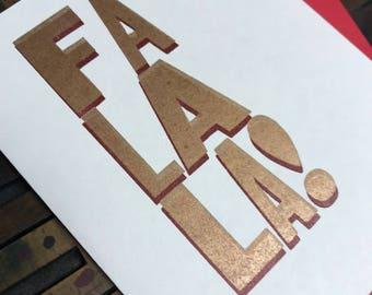Fa La La Card (gold on red) - Individual