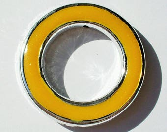 1 yellow glitter and silver ring 40mm AA298 yellow