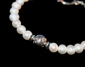 PRINCESS COCCA Pearl, Crystal and Sterling Bracelet