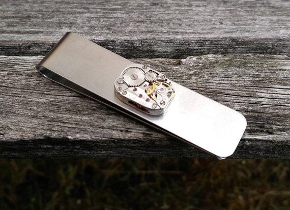 Steampunk WATCH Money Clip. Groomsmen Gift, Groom, Anniversary, Birthday. Wedding, Men. Vintage Watch, Wallet.
