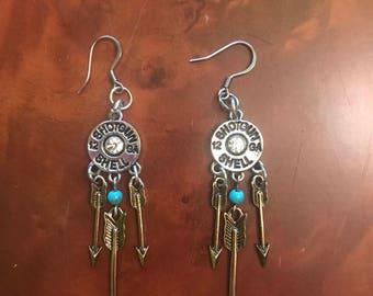 Shotgun shells & arrows earrings