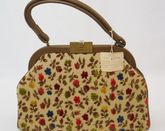 Vintage 50s 60s Dova beige velvet tapestry carpet floral  handbag made in the USA