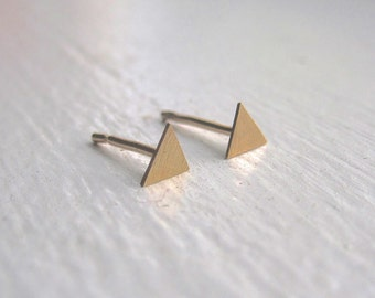 Solid 14k Gold Mini 4mm triangle sterling silver Brass Post Earrings tiny minimalist triangle stud earrings 14k gold triangle studs 0125