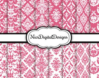 16 Digital Papers. Damask in Blush Pink and White (6 no 4) for Personal Use and Small Commercial Use Scrapbooking