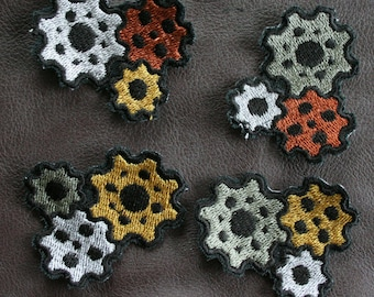 Steampunk Triple Gear Embroidered Patches