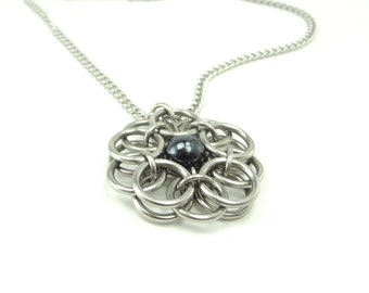 Celtic Knot Necklace Unique Handmade Chainmaille With Black Glass Pendant