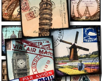 World Tour Digital Collage Sheet in 1.5-inch squares France Egypt England Italy Amsterdam Europe Postcards Windmill Eiffel Tower piddix 836