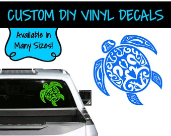 VD0087 - Tribal Turtle Decal - Vinyl Decal - Vehicle Decal - Personalized Vinyl - Personalized Decal - Turtle Window Decal