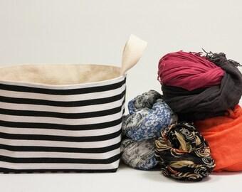 Fabric Storage Basket. Black and white stripped. Kids room storage. Fabric bucket. Storage bin.