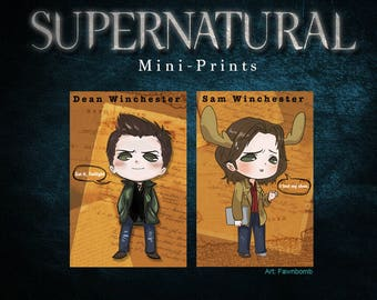 Supernatural 4 x 6 Mini Prints Sam Dean Winchester and Castiel