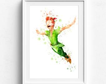 Peter Pan print watercolor peter pan nursery peter pan printable peter pan poster peter pan party peter pan art Watercolor disney aquarelles