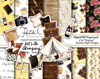 Camping Clipart Glamping Clip Art Camping Graphics Scrapbook Glam Camping Adventure Fashion Vacation Outdoor Champagne Spring Glitter Gold