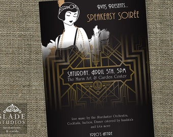 Great Gatsby movie style event poster. Printable. 1920s Flapper Party promo poster.