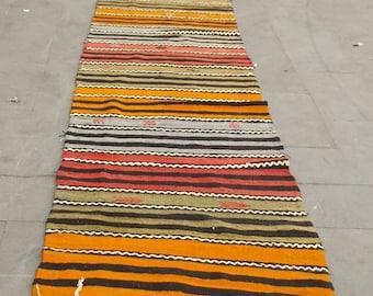 vintage kilim runner rug 420x82 cm  13,7x2,6 feet,turkish kilim runner,hallway kilim,wool kilim runner,extra long runner kilim
