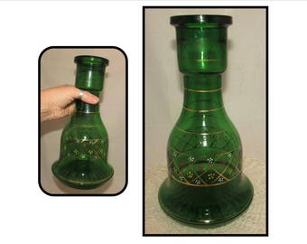 LARGE Vintage Green Glass Hookah Base Bottle, hand painted, vase